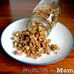 Pumpkin Granola.  I am pinning this for the spice measurements.  I have no intention of putting flour or corn meal in my granola.