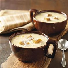 Onion Cheese Soup Recipe -I made a few adjustments to this savory soup recipe I came across in a community cookbook. It's rich, buttery and cheesy, plus it's so quick to prepare. —Janice Pogozelski, Cleveland, Ohio