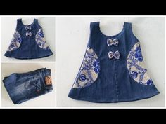 Fast conversion of old jeans into a stylish baby dress with all simplicity Quick Transformation Old Jeans Into Cute Baby Frock Best Use Of Old Jeans, Transform Your Old Clothes In just 10 Minutes Frocks For Girls, Kids Frocks, Kurta Designs, Blouse Designs, Fashion Sewing, Kids Fashion, Baby Coat, Denim Crafts, Stylish Baby