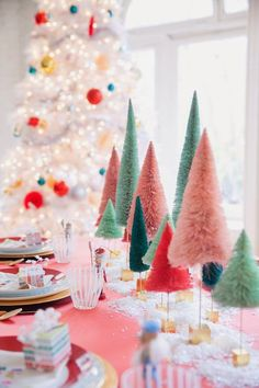 Whimsical holiday table decor