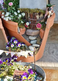 Easy + Inexpensive Fairy Garden: A broken pot, some props made of sticks, and some imagination make a sweet potted fairy garden that doesn't break the bank! Broken Pot Garden, Fairy Garden Houses, Fairy Gardens, Magical Gardens, Fairies Garden, Brick Patterns Patio, Easy Garden, Garden Ideas, Garden Pictures