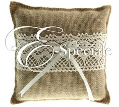 Cuscino Portafedi Juta - Prodotti Tema Vintage - Shabby Chic - Shop Per Tema - accessori e gadget per matrimoni e feste - E-speciale