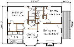 Cottage Style House Plan - 2 Beds 2 Baths 1002 Sq/Ft Plan #79-134 Floor Plan - Main Floor Plan - Houseplans.com