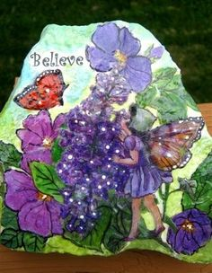 Painted rocks with fairies. I can do this!!!
