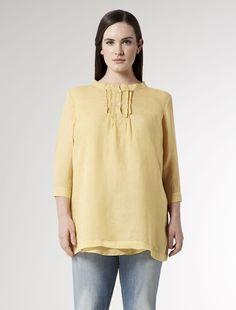 Oversize top with small frilled  bib, yellow - BIT Marina Rinaldi