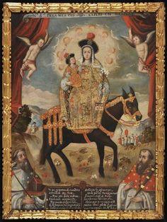 Nuestra Señora de la Merced, conocida como La Peregrina, hacia 1730, óleo sobre lienzo. Cuzco, Perú. Pintura Colonial, Colonial Art, Blanton Museum, Web Gallery Of Art, Inca Empire, Cusco Peru, Classic Paintings, Holy Mary, Jesus Pictures