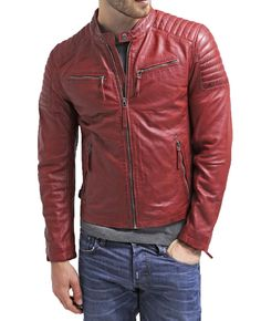 Lambskin Leather Jacket Genuine Mens Stylish Motorcycle Biker Red slim fit X56 #WesternOutfit #Motorcycle