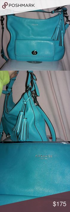 "Authentic Coach Bag Aqua Hobo/Cross Body EUC Beautiful, 100% genuine leather in a gorgeous aqua color. Has a short handle and a long handle for cross body. Gently used for one season, has some tiny marks hard to see with the eyes (see pictures). Inside has general wear, plus a pen mark on leather Coach label. I always got compliments when I used this bag! Dimensions 12.5""x 11"". 12.5""x 29"" with cross body handle fully extended. Coach Bags Satchels"