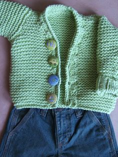 The Cardiff Baby Cardigan Pattern for boys or girls,long sleeves, chunky knit, garter stitch, spring, green,  pdf pattern on Etsy, $6.10 AUD