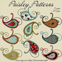 Paisley Patterns 9 PNG Files Paisley by CheriesArtsnCrafts on Etsy Paisley Doodle, Motif Paisley, Paisley Art, Paisley Design, Paisley Pattern, Paisley Wallpaper, Paisley Flower, Zentangle Patterns, Embroidery Patterns