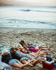 at the beach with friends