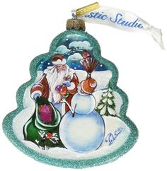 G. Debrekht Santa with Snowman Tree Glass Ornament *** Discover this special product, click the image : Christmas decor