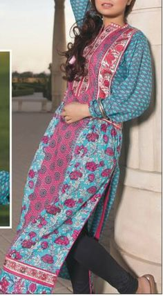 Buy Turquoise Embroidered Cotton Lawn Kurta by Amna Ismail by Zuni Kurti Collection 2015.