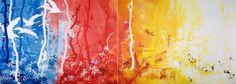 Andrea Mastrovito_Da dove veniamo? Dove andiamo? Chi siamo? Chi se ne frega, collage and aniline on paper applied on backlit plexiglass, 250 x 700 cm, 2007