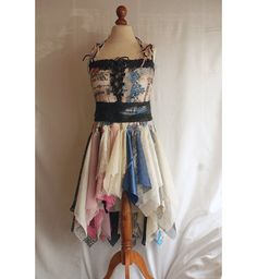 Fairy Tattered Bridesmaid Dress Ivory Pink Blue Romantic by cutrag, $177.77