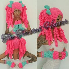 Crochet bright pigtail hat