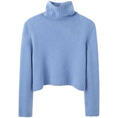 The Row Nenette Top (€285) ❤ liked on Polyvore featuring tops, sweaters, jumpers, shirts, blue sweater, long sleeve crop top, long-sleeve shirt, turtle neck sweater and blue long sleeve shirt