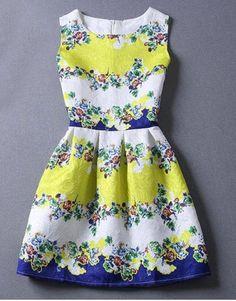 Refrescante cuello redondo minúsculo de la impresión floral del vestido sin mangas del vestido de bola para las mujeres