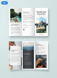Get a sample travel brochure template and you won't be found wanting. This free product is ready to print; it also allows you to change its layouts, texts, and artwork as you see fit. Brochure Indesign, Brochure Sample, Free Brochure, Travel Brochure Template, Brochure Layout, Adobe Indesign, Adobe Photoshop, Flyer Layout, Corporate Brochure