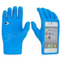 Not sure who should get this for a gift. Palm Style Protective Silicone Case for iPhone 4 / 4S - Blue