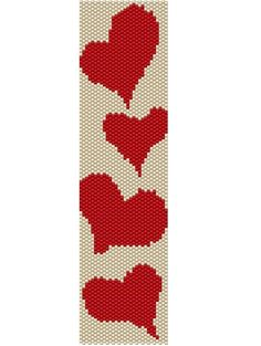 Valentine day PDF file Pattern Hearts seed by beadtutorials