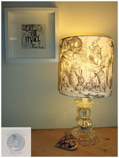 Alice in Wonderland - Curiouser and Curiouser - Lamp Shade / Light Fitting / Lampshade