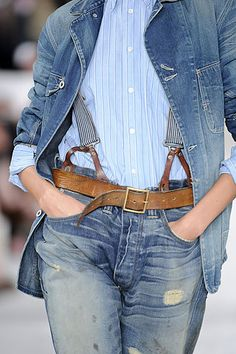 RRL jeans with braces. Get rid of the belt!