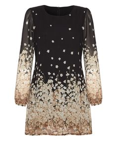 Look what I found on #zulily! Black & Cream Floral Field Shift Dress by Yumi #zulilyfinds