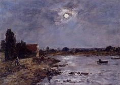 Eugene Boudin-The Banks of the Touques-Moonlight