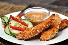 Thai-Style Chicken Fingers with Peanut Sauce and Cucumber Salad