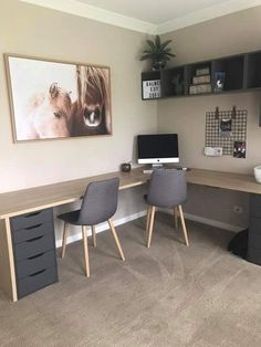Home office in. Inner of basement family room Home office in. Inner of basement family room Home Office Space, Guest Room Office, Home Office Desks, House Interior, Home, Family Room, Home Office Decor, Home Decor, Office Design