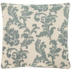 Add a pop of pattern to your arm chair, sofa, or window seat with this charming pillow, showcasing a scrolling acanthus leaf motif in steel blue.