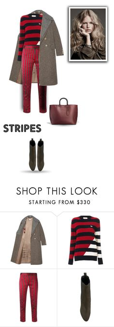 """""""Pattern Challenge: Stripes on Stripes"""" by bliznec ❤ liked on Polyvore featuring Gucci, Maison Kitsuné, Ann Demeulemeester, Yves Saint Laurent, Coach, polyvoreeditorial, polyvorecontest, stripesonstripes and PatternChallenge"""