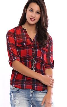 Deb Shops Flannel Printed Chiffon Button Down Top with Rolled Sleeves $16.50