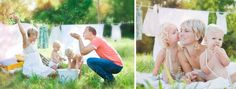 I love the clothes line ♡ Family Photo Session Idea |  Backyard | Home | Outdoor | Siblings | Bath Time | Fun | Summer
