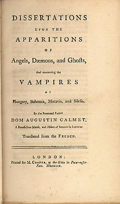 The first work in the english language devoted to vampires.  Written by Dom Augustin Calmet in 1746 and translated into english in 1759.  London. 1759. First ed. 8:o. 370 pages. Bound in cont red calf with raised binds and gilt spine.