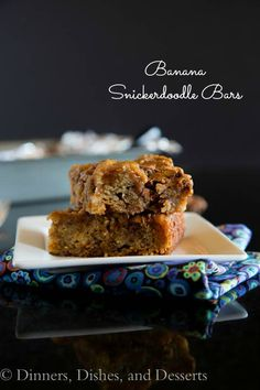 Banana Snickerdoodle Bars – Use up those over ripe bananas to make these Snickerdoodle Bars. All the flavor of a Snickerdoodle cookie, in the form of a bar!
