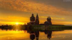 Zachód, Słońca, Cerkiew, Rzeka, Odbicie