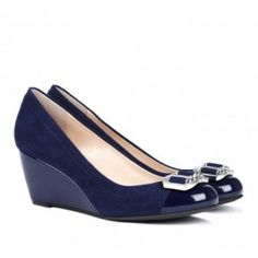 HILLARY cap toe wedge in midnight by sole society from ILoveCuteShoes.com