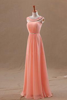 Glamorous 2014 Prom Dresses Scoop A Line Floor Length Chiffon Beaded