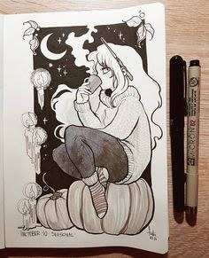 autumn season [ Inktober Day 10 - seasonal witch ] I picked Chelle and drew her as an Autumn Witch Kunst Inspo, Art Inspo, Art And Illustration, Anime Kunst, Anime Art, Cute Drawings, Drawing Sketches, Fall Drawings, Autumn Witch