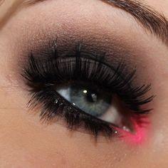 Colorful neon pink eyeshadow #eye #eyes #makeup #eyeshadow #smokey #dramatic #dark