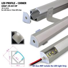 LEDAP-1M-007 - Length:  1M (3.28 ft) *** Can be cut to your specs or joined together seamlessly for longer applications Width: 18.4mm (0.72 in) Height: 19.6mm (0.77 in) w/DiffuserInner Width: 12.2mm (0.48 in)*** Use with 12mm LED Light Strip or Bar max. Ships as a Kit:  1 (ea) aluminum channel 1 (ea) opal matte diffuser/cover 2 (ea) end caps 2 (ea) mounting clips for aluminum channel installation *** Kit does NOT include the LED Strip Light