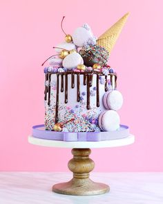 Without the ice cream cone cream design selber machen ice cream cream cream cake cream design cream desserts cream recipes Pretty Cakes, Cute Cakes, Beautiful Cakes, Yummy Cakes, Amazing Cakes, Amazing Birthday Cakes, Birthday Cupcakes, Birthday Cake Ice Cream, Purple Birthday Cakes