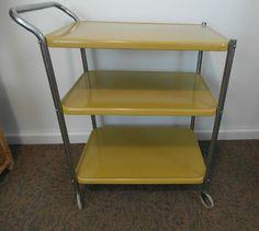 yellow metal kitchen cart vintage rolling kitchen by gillardgurl