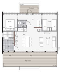 Small House Plans, House Floor Plans, 1 Story House, Getaway Cabins, Weekend House, Steel House, Glass House, Present Day, Small Living
