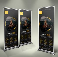 Business Roll Up Banner by GeniusPoint | GraphicRiver Roller Banners, Exhibition Banners, Roll Up Design, Pop Up Banner, Buy Business, Banner Design, Pedestal, In This Moment, Web Banner Design