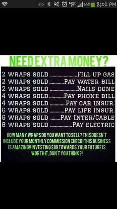 What would you do with extra money ??? contact me at wrappingfarmgirl@outlook.com or sign as a distributor today at http://wrappingfarmgirl.myitworks.com to find out how you can become an it works distributor for only $99