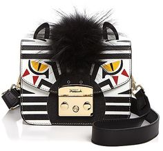 Furla Metropolis Zebra Print Mini Fur and Leather Crossbody