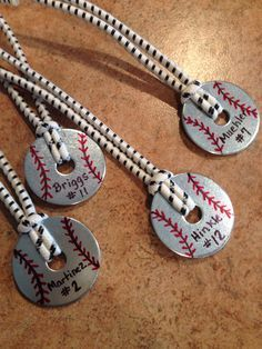Baseball team gifts.... hang from bags, kids can put in bedroom, moms can put them in their bags or on a cooler.